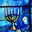 Chagall Menorah - stained glass detail